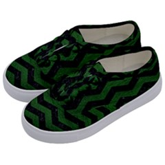 CHEVRON3 BLACK MARBLE & GREEN LEATHER Kids  Classic Low Top Sneakers