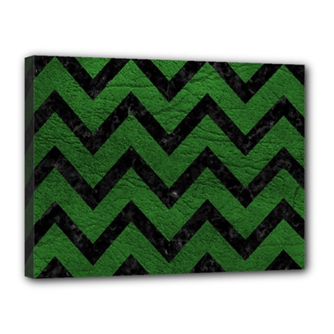 Chevron9 Black Marble & Green Leather (r) Canvas 16  X 12  by trendistuff