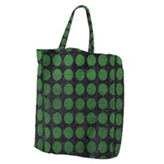 Circles1 Black Marble & Green Leather Giant Grocery Zipper Tote by trendistuff