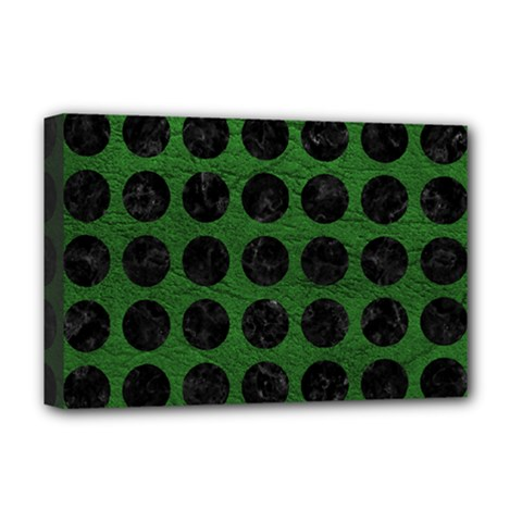 Circles1 Black Marble & Green Leather (r) Deluxe Canvas 18  X 12   by trendistuff