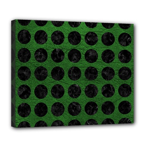Circles1 Black Marble & Green Leather (r) Deluxe Canvas 24  X 20   by trendistuff