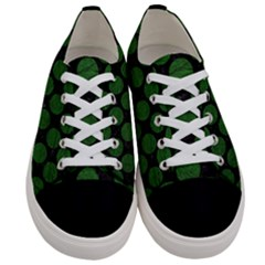 Circles2 Black Marble & Green Leather Women s Low Top Canvas Sneakers