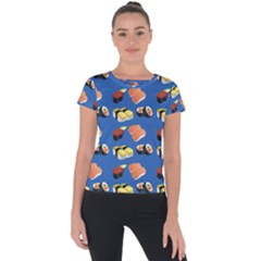 Sushi Pattern Short Sleeve Sports Top