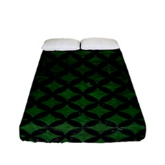 Circles3 Black Marble & Green Leather (r) Fitted Sheet (full/ Double Size) by trendistuff