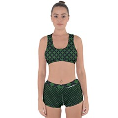 Circles3 Black Marble & Green Leather (r) Racerback Boyleg Bikini Set