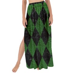 Diamond1 Black Marble & Green Leather Maxi Chiffon Tie Up Sarong by trendistuff