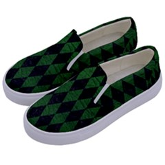 Diamond1 Black Marble & Green Leather Kids  Canvas Slip Ons by trendistuff