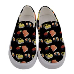 Sushi Pattern Women s Canvas Slip Ons