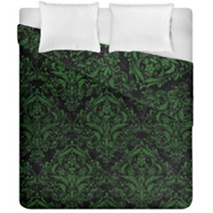 Damask1 Black Marble & Green Leather Duvet Cover Double Side (california King Size) by trendistuff