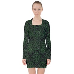 Damask1 Black Marble & Green Leather V Neck Bodycon Long Sleeve Dress by trendistuff