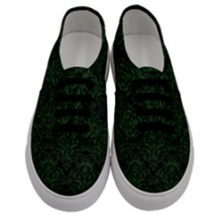 Damask1 Black Marble & Green Leather Men s Classic Low Top Sneakers
