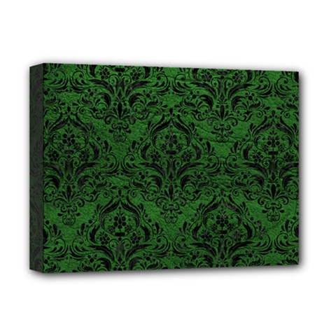 Damask1 Black Marble & Green Leather (r) Deluxe Canvas 16  X 12   by trendistuff