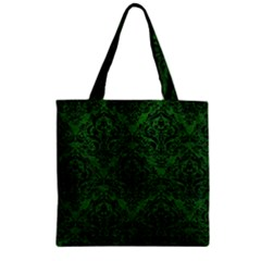 Damask1 Black Marble & Green Leather (r) Zipper Grocery Tote Bag by trendistuff