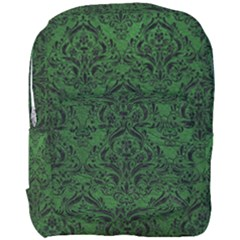 Damask1 Black Marble & Green Leather (r) Full Print Backpack