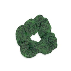 Damask1 Black Marble & Green Leather (r) Velvet Scrunchie by trendistuff