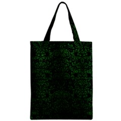 Damask2 Black Marble & Green Leather Zipper Classic Tote Bag by trendistuff