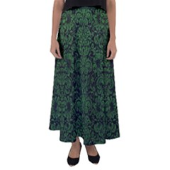 Damask2 Black Marble & Green Leather Flared Maxi Skirt