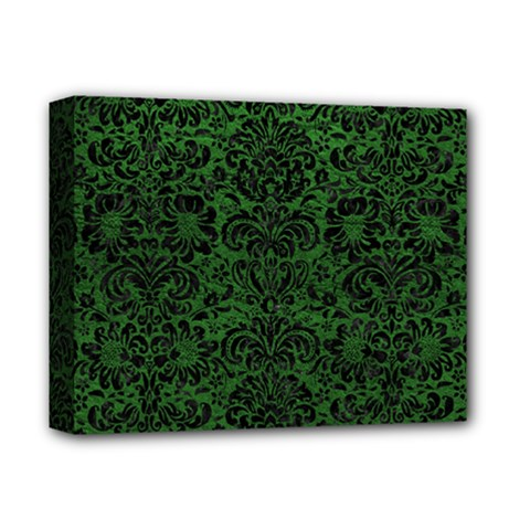 Damask2 Black Marble & Green Leather (r) Deluxe Canvas 14  X 11  by trendistuff