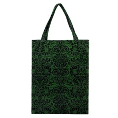 Damask2 Black Marble & Green Leather (r) Classic Tote Bag by trendistuff