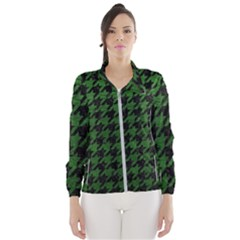 Houndstooth1 Black Marble & Green Leather Wind Breaker (women) by trendistuff