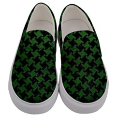 Houndstooth2 Black Marble & Green Leather Men s Canvas Slip Ons