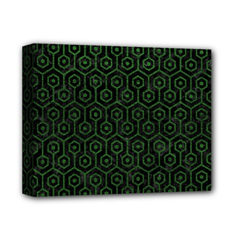 Hexagon1 Black Marble & Green Leather Deluxe Canvas 14  X 11  by trendistuff