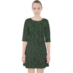 Hexagon1 Black Marble & Green Leather Pocket Dress