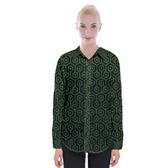 Hexagon1 Black Marble & Green Leather Womens Long Sleeve Shirt