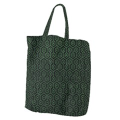Hexagon1 Black Marble & Green Leather Giant Grocery Zipper Tote