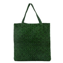 Hexagon1 Black Marble & Green Leather (r) Grocery Tote Bag by trendistuff