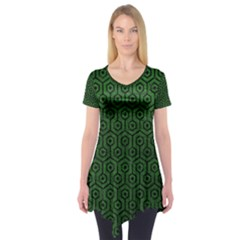 Hexagon1 Black Marble & Green Leather (r) Short Sleeve Tunic
