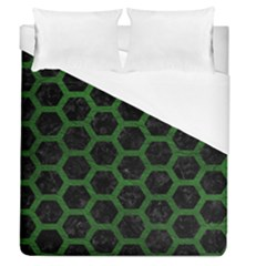 Hexagon2 Black Marble & Green Leather Duvet Cover (queen Size) by trendistuff