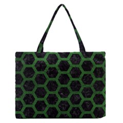 Hexagon2 Black Marble & Green Leather Zipper Medium Tote Bag by trendistuff