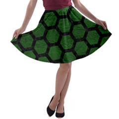 Hexagon2 Black Marble & Green Leather (r) A Line Skater Skirt