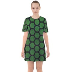 Hexagon2 Black Marble & Green Leather (r) Sixties Short Sleeve Mini Dress