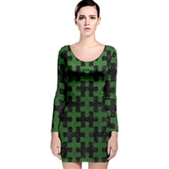 Puzzle1 Black Marble & Green Leather Long Sleeve Velvet Bodycon Dress
