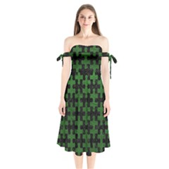 Puzzle1 Black Marble & Green Leather Shoulder Tie Bardot Midi Dress