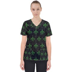 Royal1 Black Marble & Green Leather (r) Scrub Top