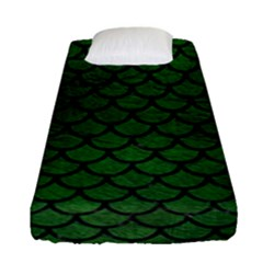 Scales1 Black Marble & Green Leather (r) Fitted Sheet (single Size) by trendistuff