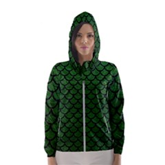 Scales1 Black Marble & Green Leather (r) Hooded Wind Breaker (women) by trendistuff