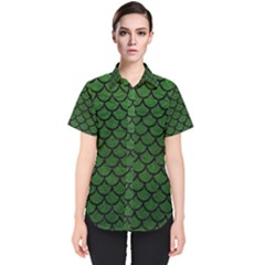 Scales1 Black Marble & Green Leather (r) Women s Short Sleeve Shirt