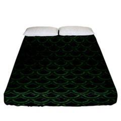Scales2 Black Marble & Green Leatherscales2 Black Marble & Green Leather Fitted Sheet (california King Size) by trendistuff