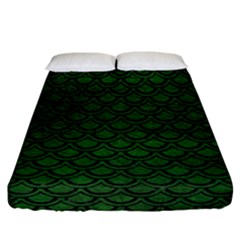 Scales2 Black Marble & Green Leather (r) Fitted Sheet (california King Size) by trendistuff