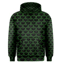 Scales3 Black Marble & Green Leather Men s Pullover Hoodie by trendistuff