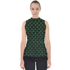 Scales3 Black Marble & Green Leather Shell Top
