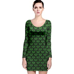 Scales3 Black Marble & Green Leather (r) Long Sleeve Velvet Bodycon Dress