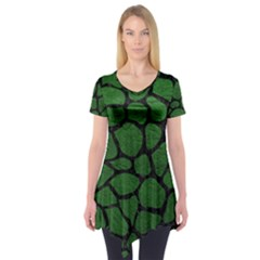 Skin1 Black Marble & Green Leather Short Sleeve Tunic