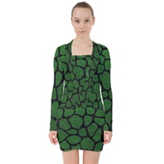 Skin1 Black Marble & Green Leather V Neck Bodycon Long Sleeve Dress