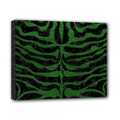 Skin2 Black Marble & Green Leather Canvas 10  X 8  by trendistuff