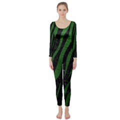 Skin3 Black Marble & Green Leather Long Sleeve Catsuit by trendistuff